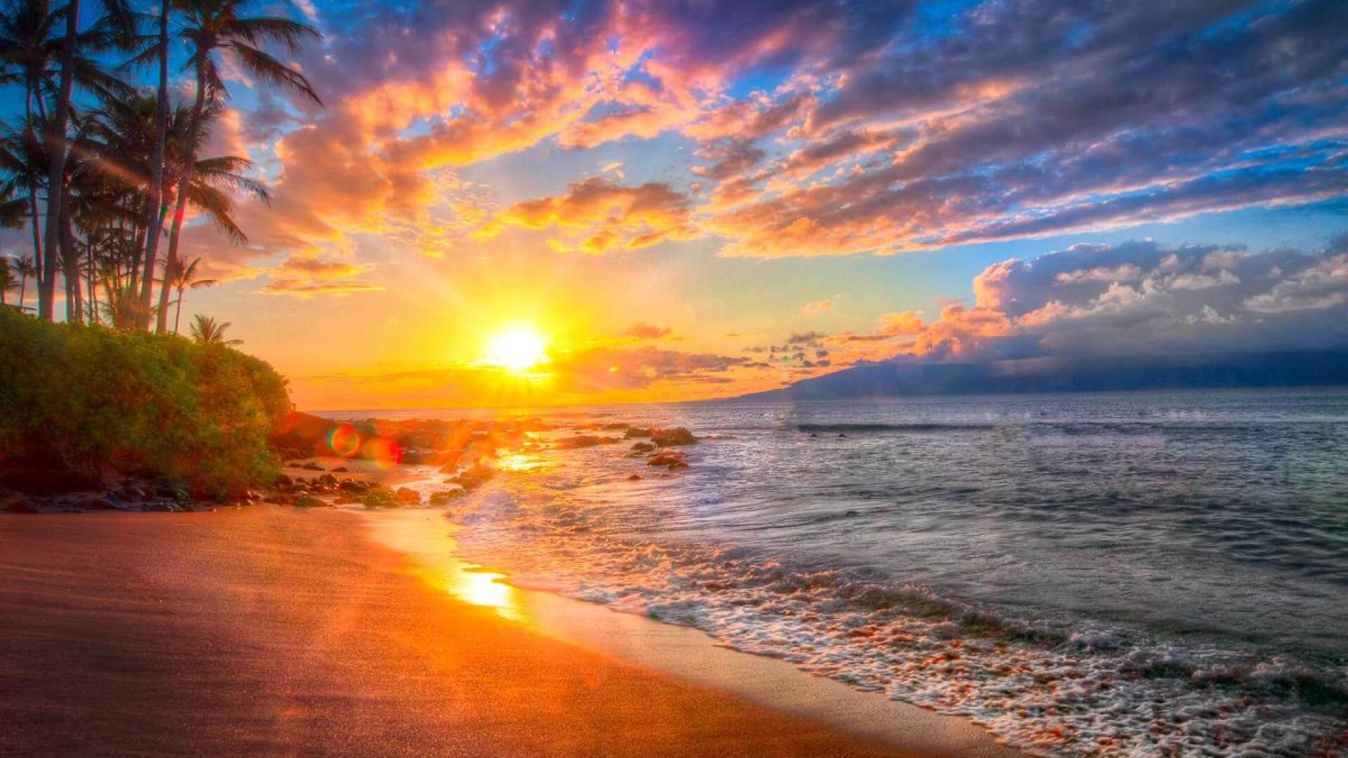 Hawaiian Beach Sunset Wallpaper Background: Bill B. Fulfills His Hawaiian Dream